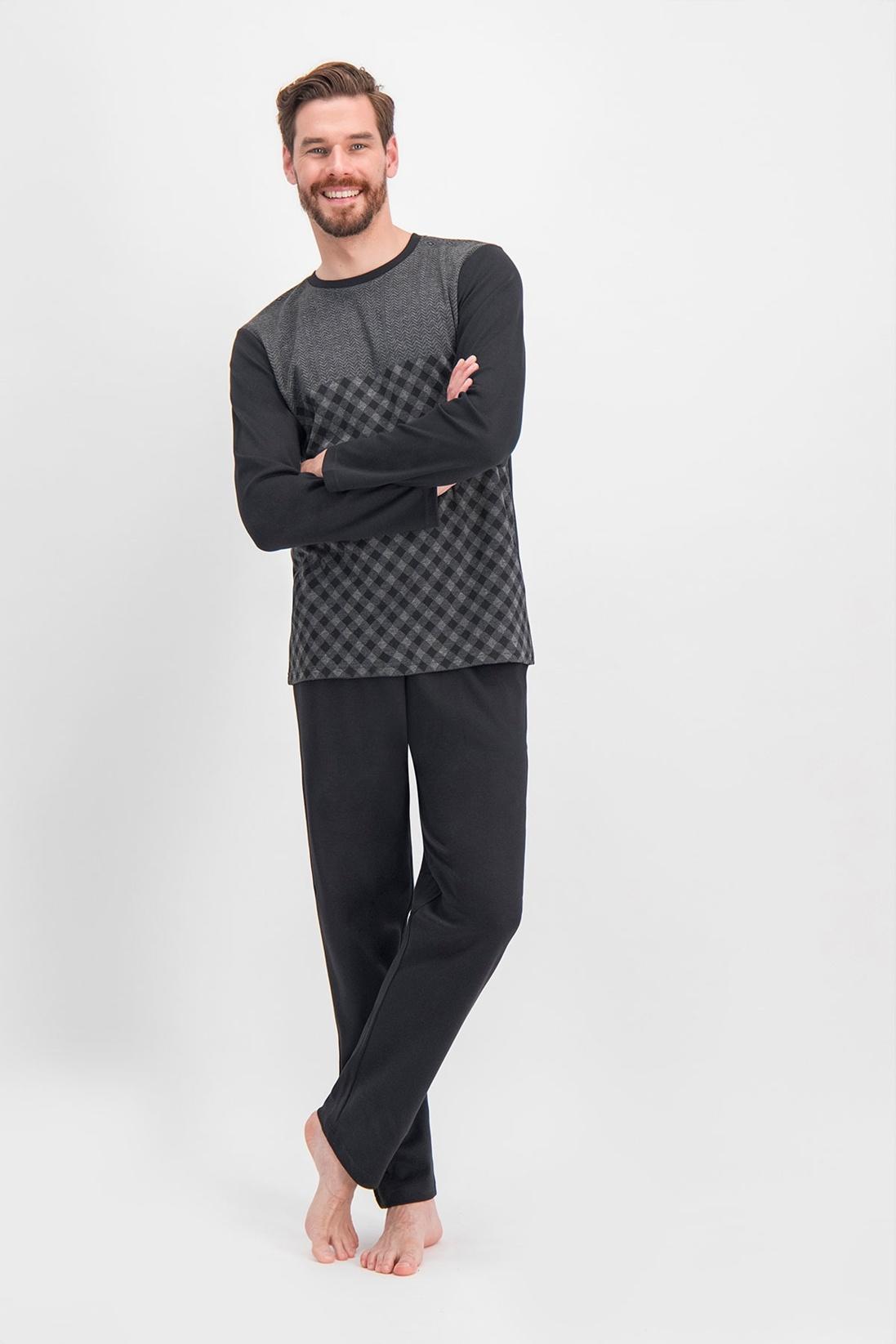 Erkek Arnetta Chess Ekose Siyah Büyük Beden Pijama Takımı
